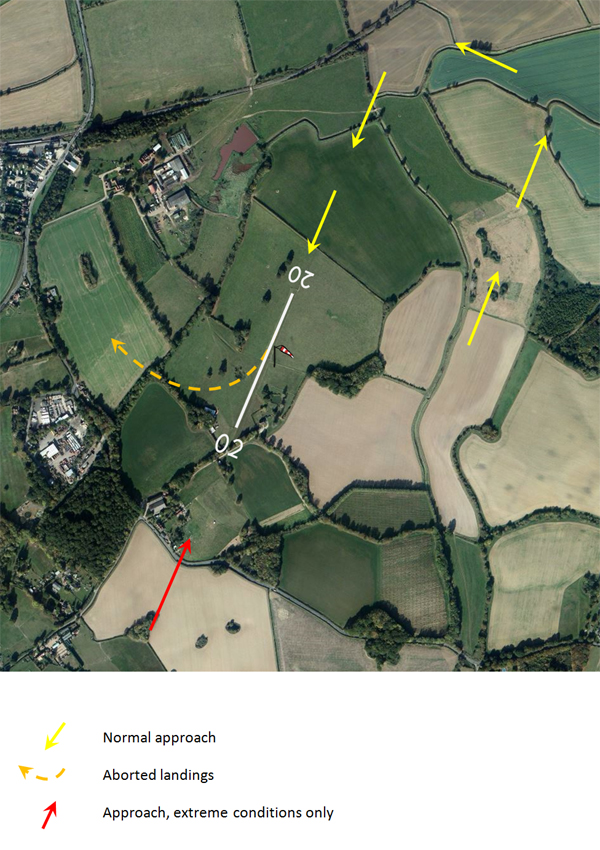 Satelite view of airfield with standard aproaches